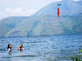 Swimming in Lake Toba, North Sumatera