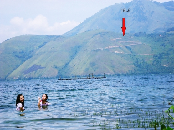 Swimming in Lake Toba, North Sumatera